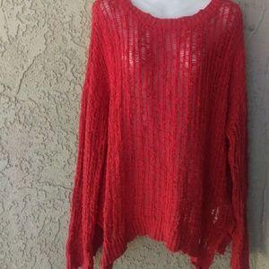 Volcom crochet oversized slit sides sweater